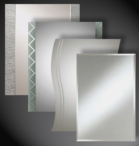 Textured glass, textured mirror, de-silvered or antique mirror, tempered painted glass, Finch Industries, inc.